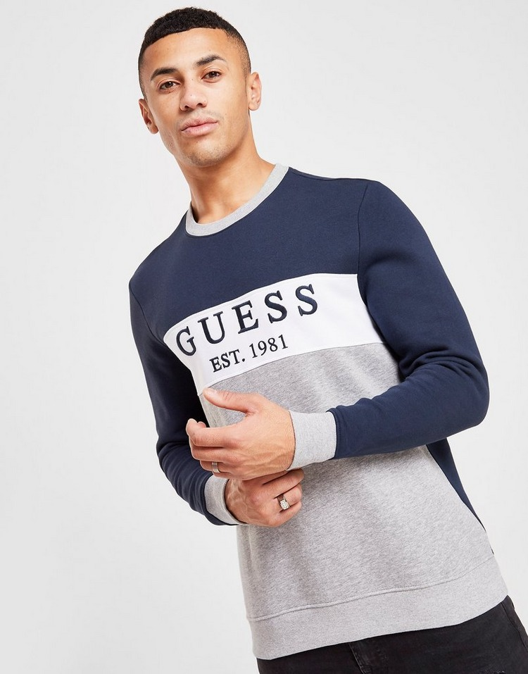 GUESS Colour Block Panel Crew Sweatshirt