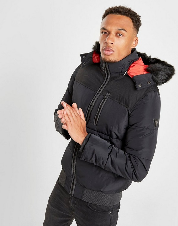 Koop Zwart Guess Fur Trim Puffer Jacket | JD Sports