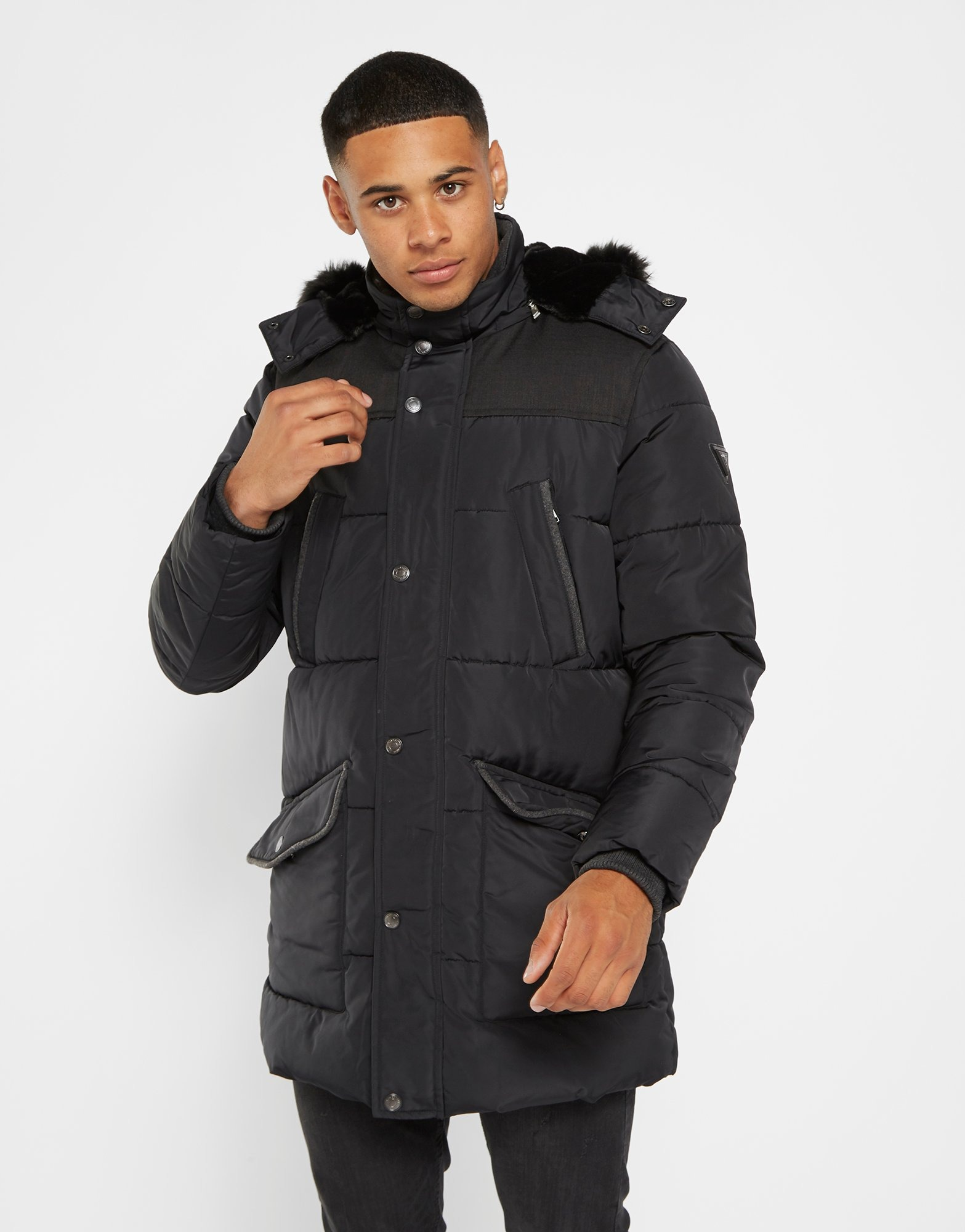 Guess Long Fur Puffer Jacket Heren | JD Sports