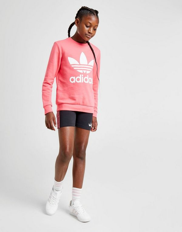 adidas Originals Girls' Trefoil Crew Sweatshirt Junior