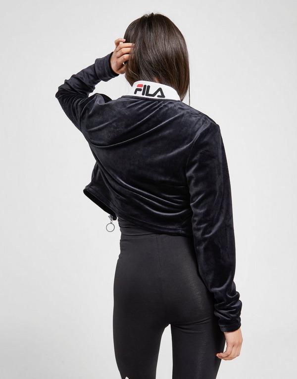 Fila Velour Long Sleeve Crop Full Zip Track Top