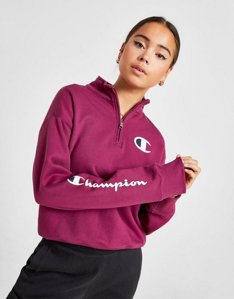 Champion Script Sleeve 1/4 Zip Sweatshirt
