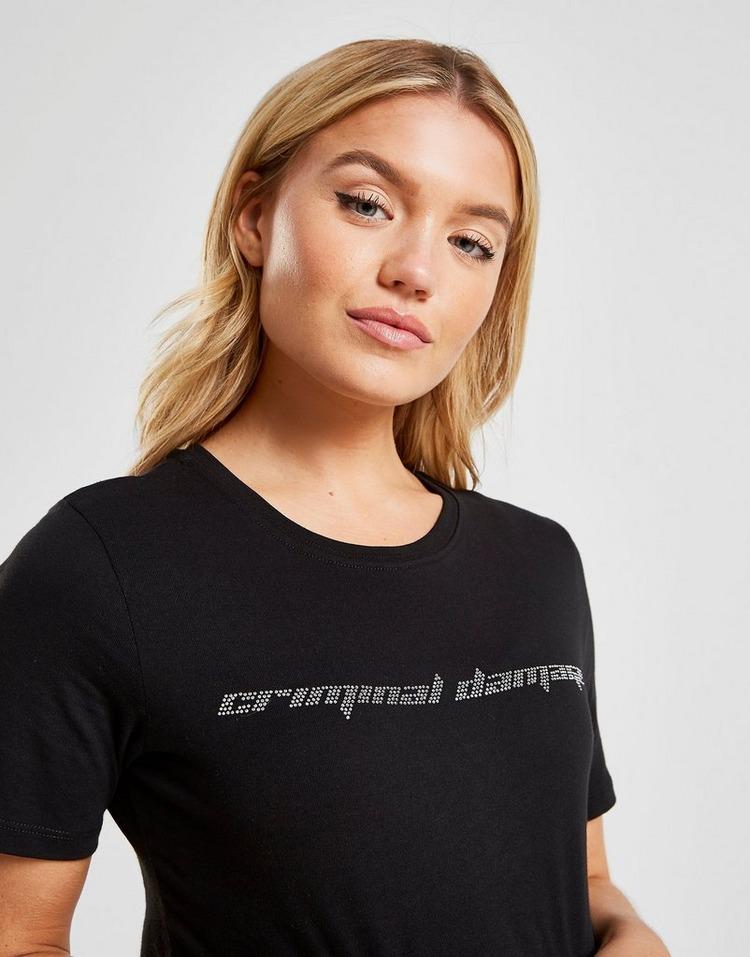 Criminal Damage Cropped Rhinestone T-Shirt