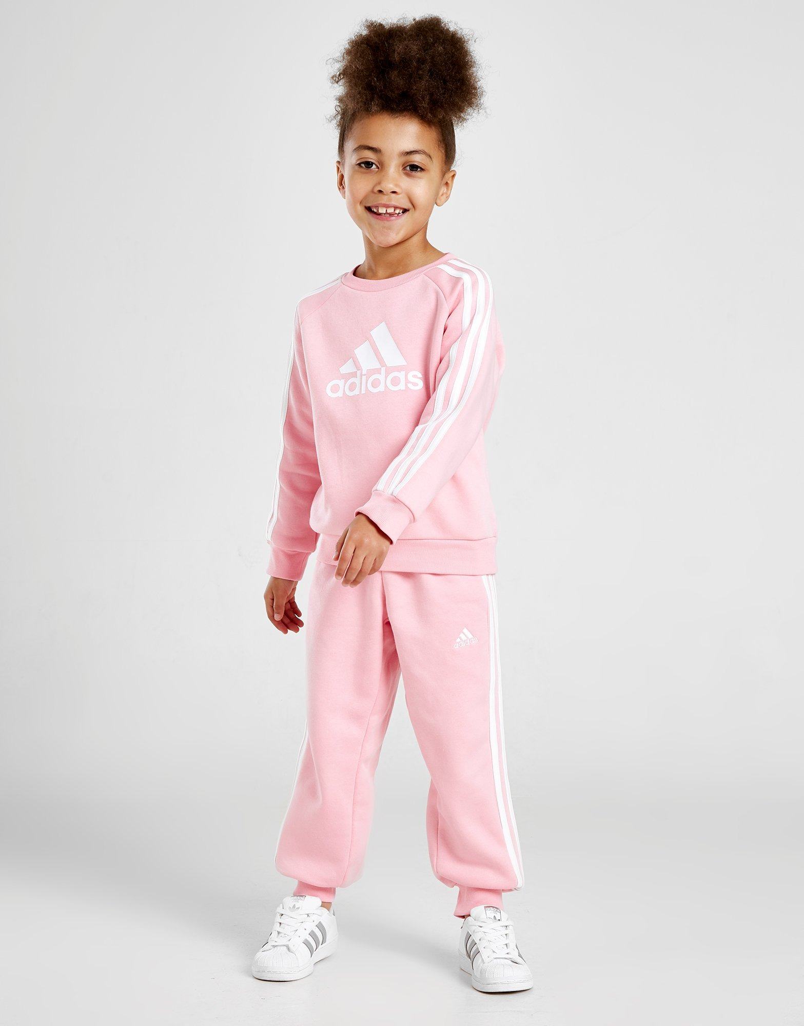 Adidas Girls' Badge Of Sport Logo Crew Tracksuit Children by Adidas