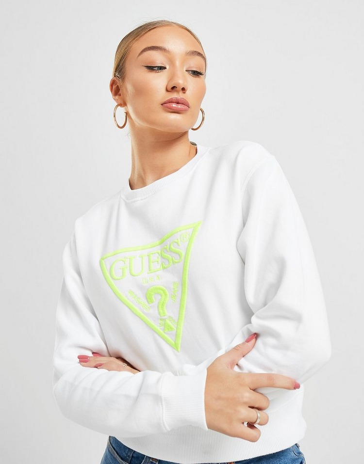GUESS Neon Triangle Logo Crew Sweatshirt