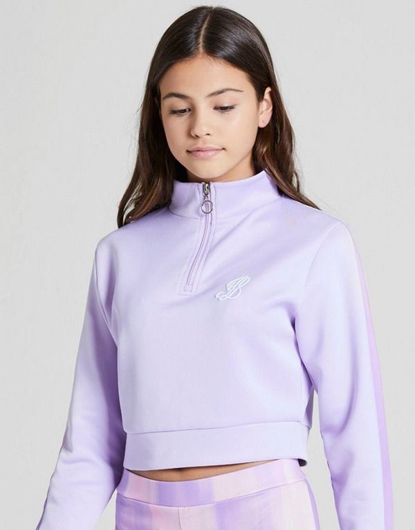 ILLUSIVE LONDON Girls' Crop 1/4 Zip Panel Track Top Junior