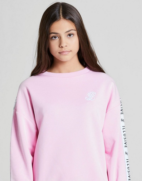 ILLUSIVE LONDON Girls' Boyfriend Crew Tape Sweatshirt Junior