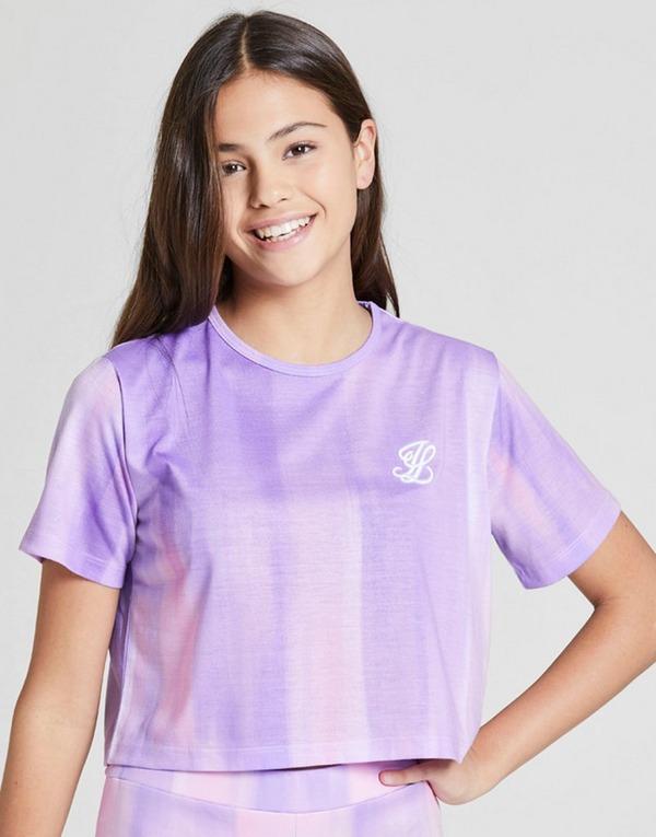 ILLUSIVE LONDON Girls' Marble Crop Fade T-Shirt Junior