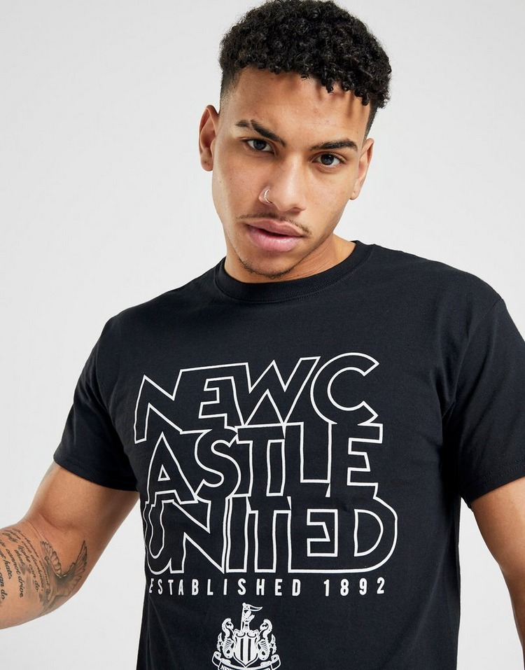 Official Team Newcastle United EST 1892 T-Shirt Heren