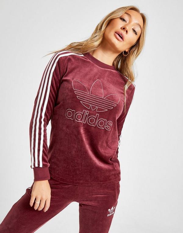 Acherter Rouge adidas Originals T Shirt 3 Stripes Velvet