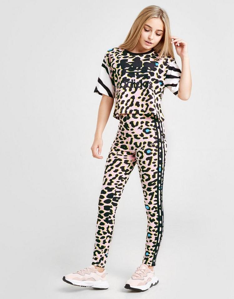 adidas Originals Girls' LZ Crop All Over Print T-Shirt Junior
