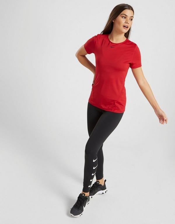 Koop Rood Nike Pro Short Sleeve Training T Shirt Dames | JD