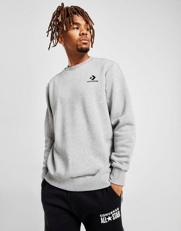 Shop den Converse Star & Chevron Crew Sweatshirt in Grau