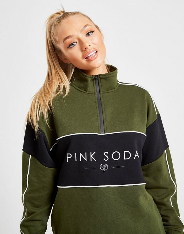 Pink Soda Sport Colour Block Panel 1/4 Zip Sweatshirt