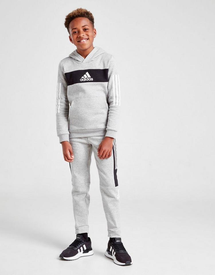 adidas Badge Of Sport Colour Block Overhead Hoodie Junior
