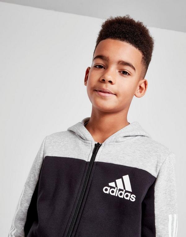 Buy Black adidas 3 Stripes Colour Block Full Zip Hoodie