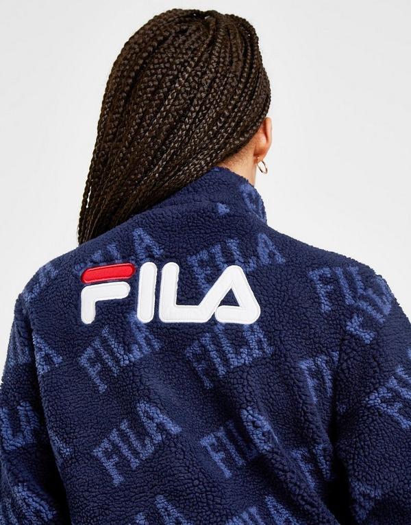 Fila All Over Print 1/4 Zip Sherpa Sweatshirt