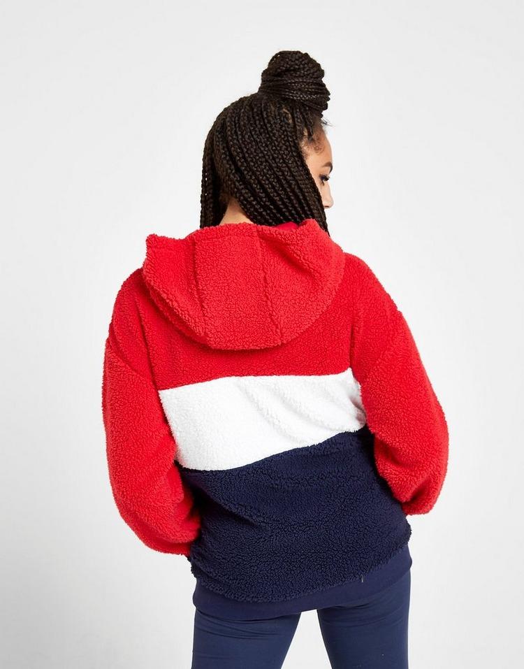 Fila Colour Block 1/4 Zip Sherpa Hoodie