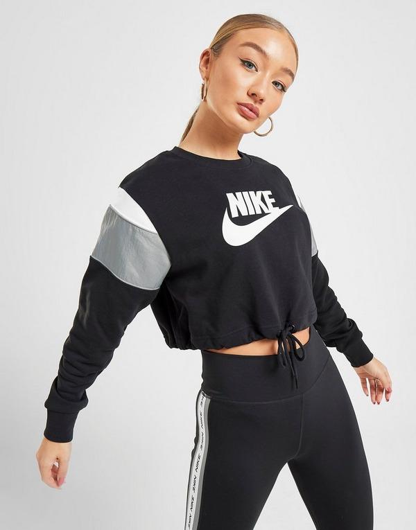 Shoppa Nike Heritage Crop Crew Sweatshirt Dam i en Svart