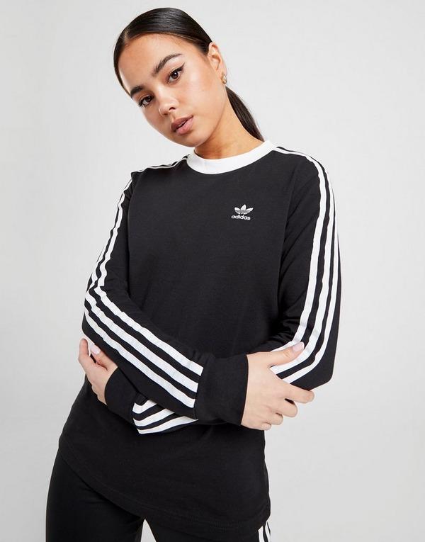 Buy Black adidas Originals 3-Stripes Long Sleeve California ...