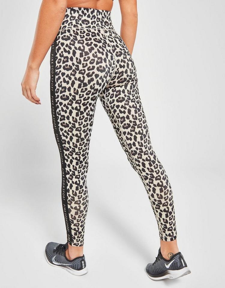 Pink Soda Sport Tape Leopard Tights