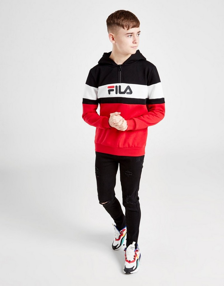 Fila Colour Block 1/4 Zip Hoodie Junior
