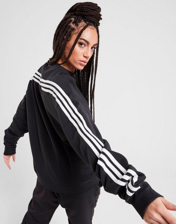 Acherter Noir adidas Originals Sweatshirt 3 Bandes Wrap Crew