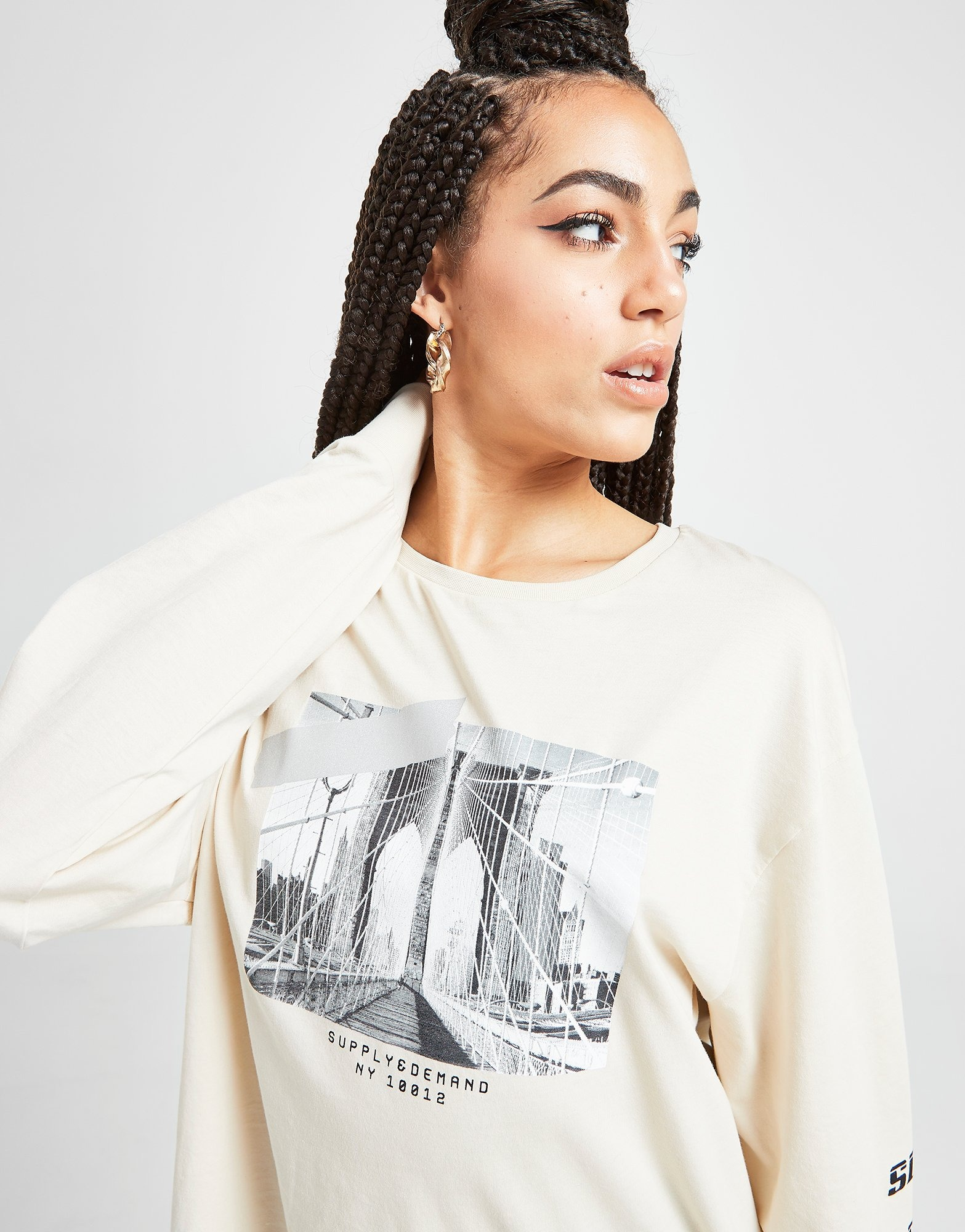 Supply & Demand Graphic Repeat Logo Long Sleeve T Shirt by Supply & Demand