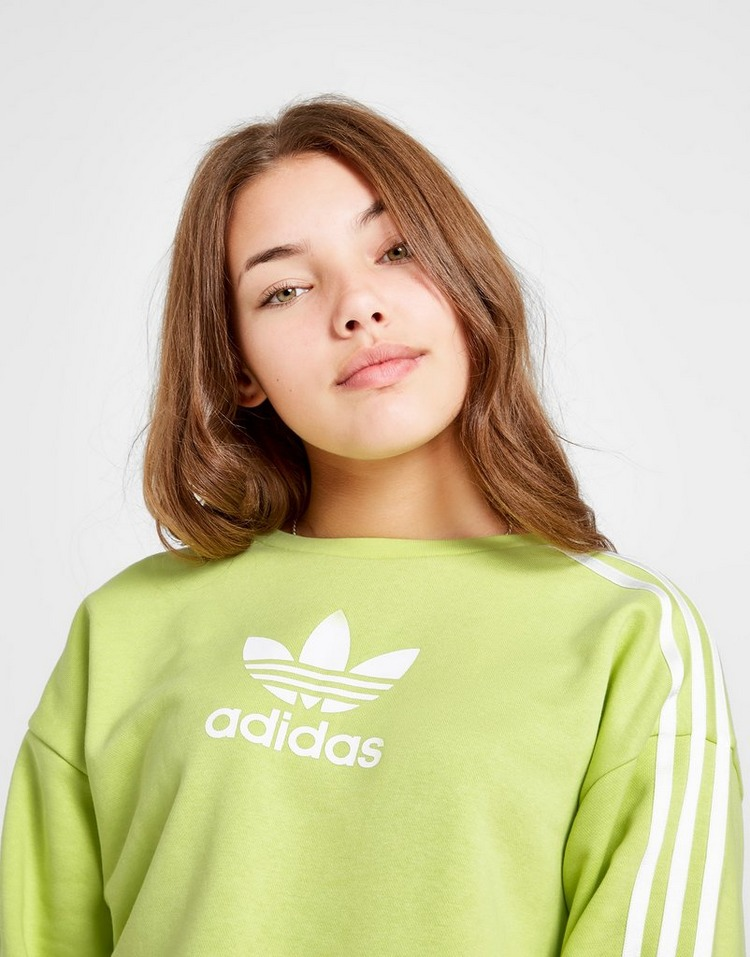 adidas Originals Girls' 3-Stripes Trefoil Crew Sweatshirt Junior