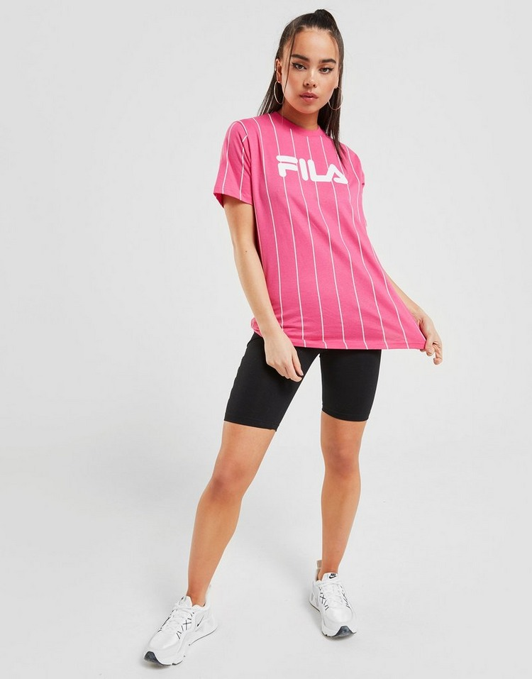 Acheter Pink Fila T Shirt Stripe Boyfriend Femme