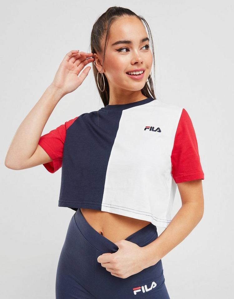Fila Colour Block Crop T-Shirt Dam
