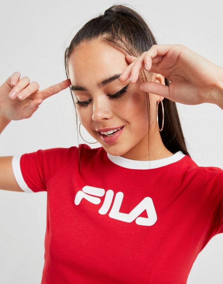Acherter Rouge Fila T shirt Logo Crop Ringer Femme | JD Sports