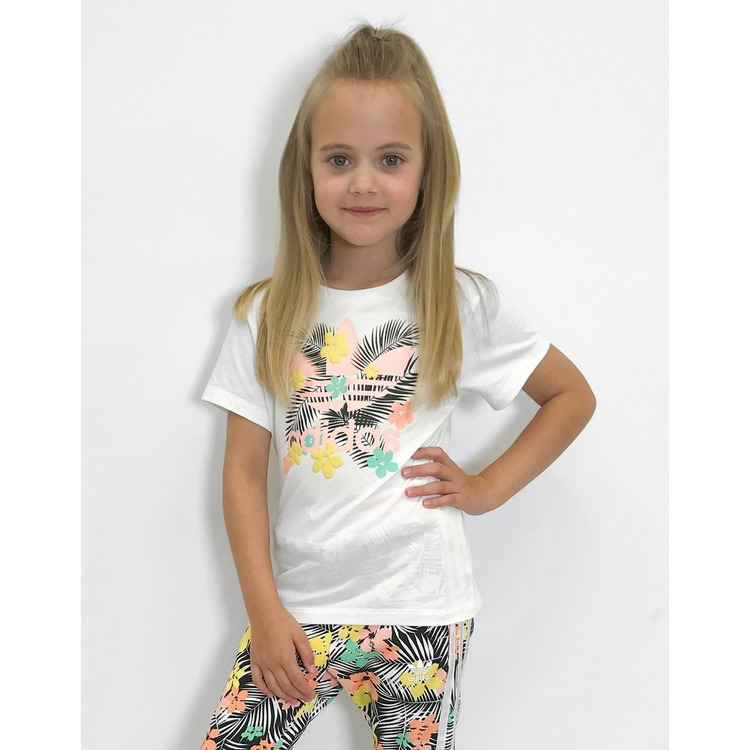 adidas Originals Girls' Print Trefoil T-Shirt Children