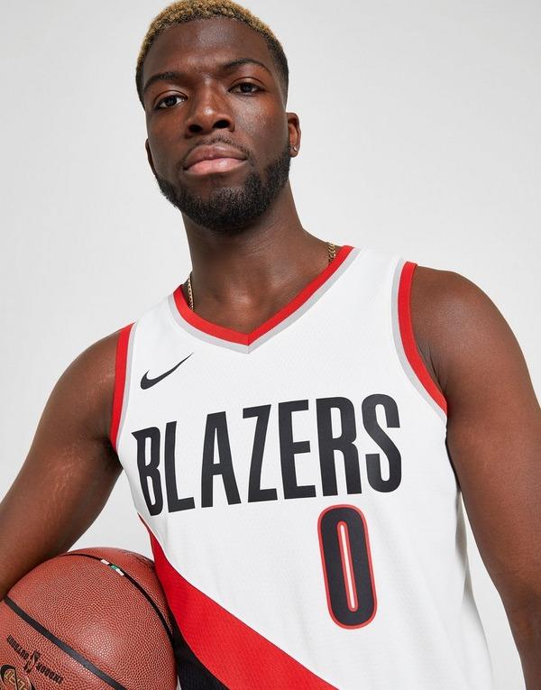 Buy White Nike NBA Portland Trail Blazers Lillard #0 Swman