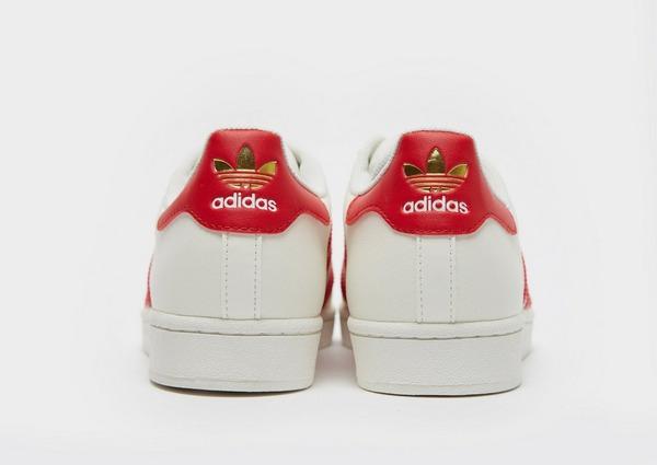 Klassisk Adidas Superstar Skor DamHerr I VitRöd