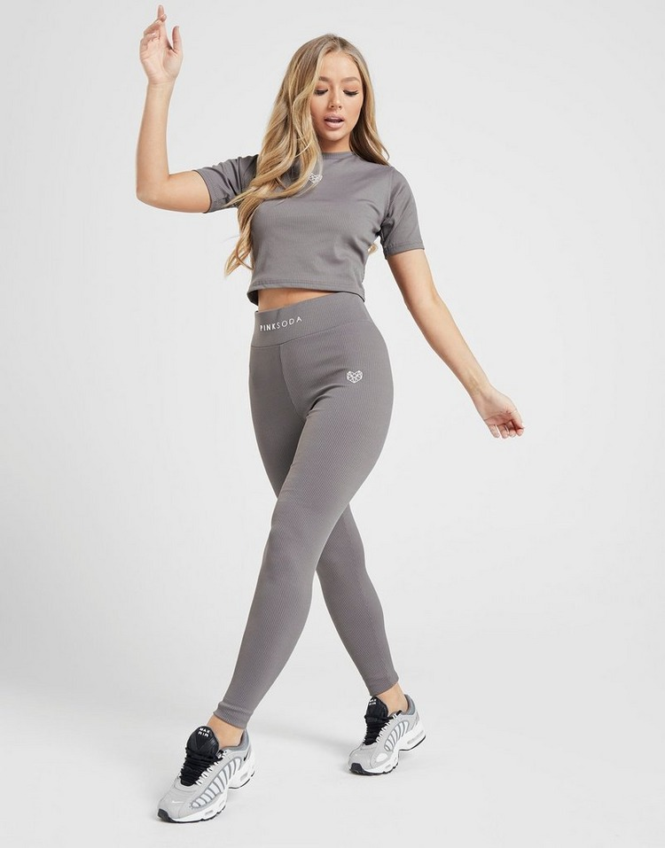 Pink Soda Sport Ribbed Slim T-Shirt Dames grijs