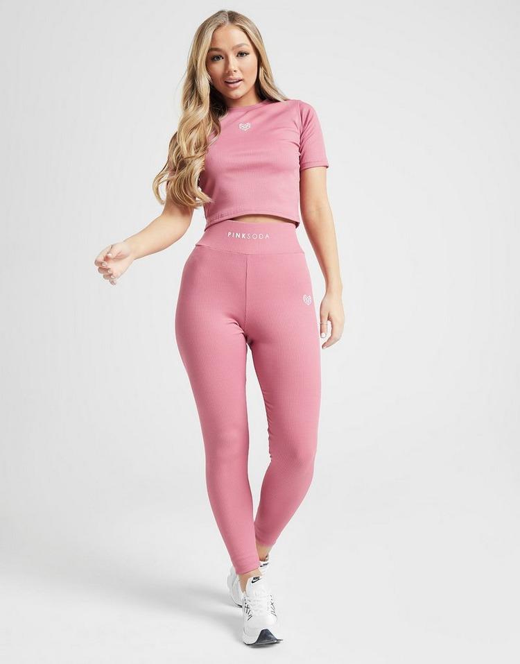 Pink Soda Sport Ribbed Slim T-Shirt Dames roze