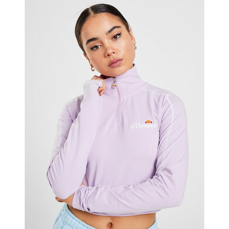 Ellesse Contrasting Long Sleeve Crop 1/4 Zip Top