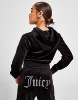 Juicy Couture Diamante Logo Velour Hoodie Dame