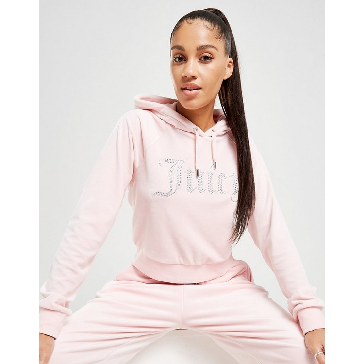 Juicy Couture Diamante Logo Velour Hoodie Dame