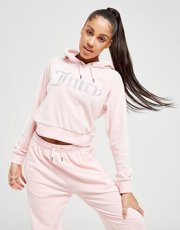 juicy couture diamante logo velour hoodie juicy couture