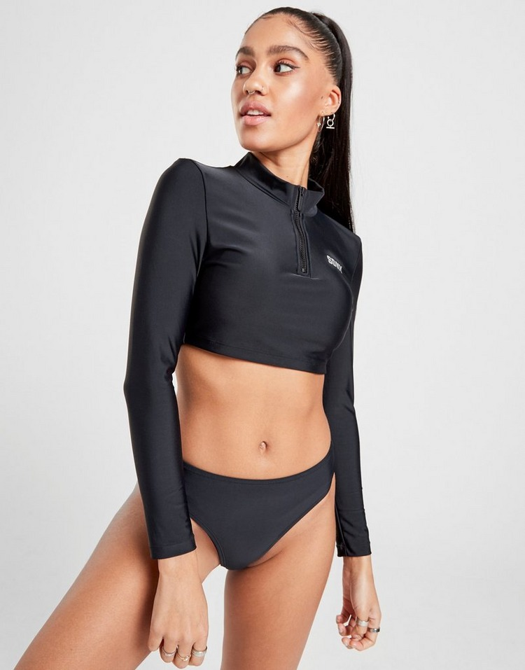 Supply & Demand Avalon 1/2 Zip Long Sleeve Bikini Top