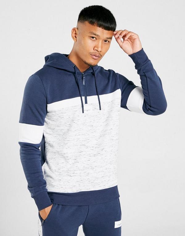 YUNY Men Color Block Full-Zip Sports Hooded Fitness Sweatshirts Outwear Navy Blue S