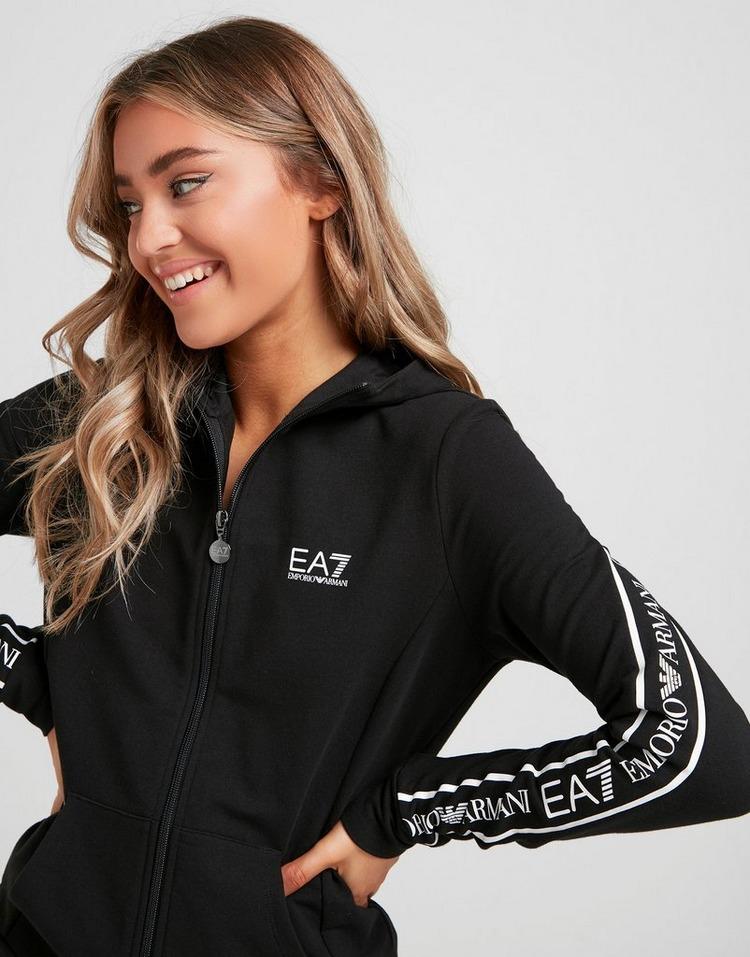 Emporio Armani EA7 Sweat à Capuche Tape Back Zippé Femme