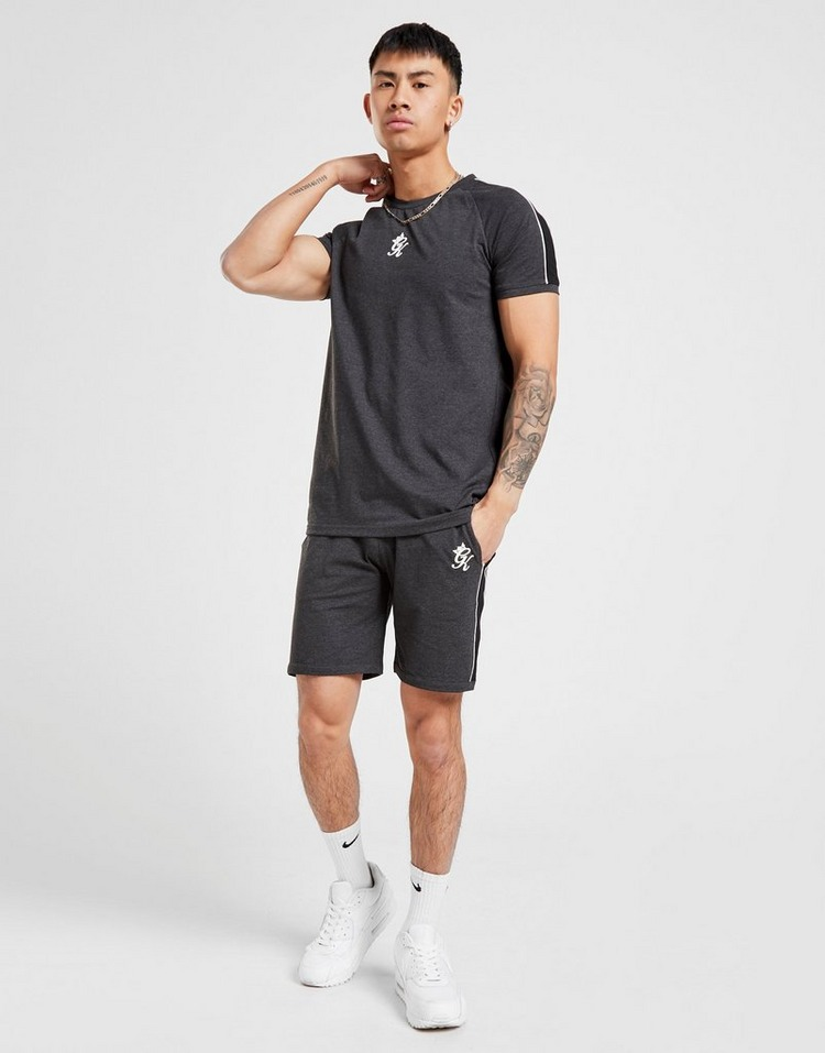 Gym King Retro Stripe T-Shirt/Shorts Twin Suit