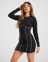 Il Sarto Contrast Long Sleeve Fitted Dress