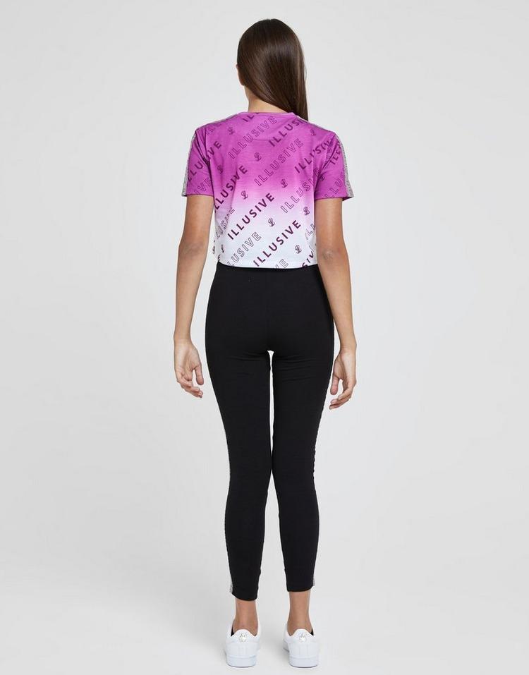 ILLUSIVE LONDON Girls' All Over Print Crop Fade T-Shirt Junior