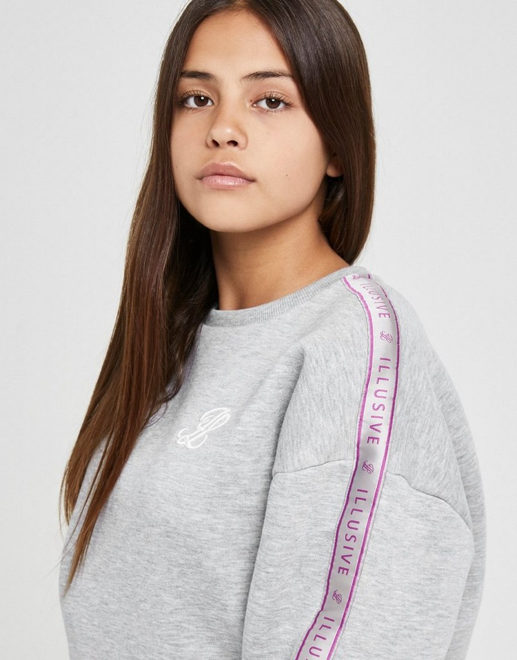 ILLUSIVE LONDON Girls' Tape Fleece Crew Sweatshirt Junior