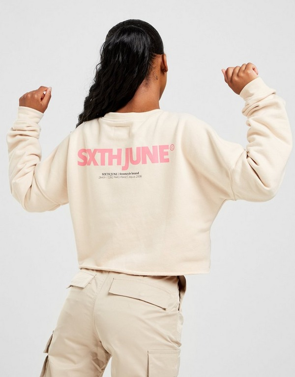 Sixth June Back Logo Crop Crew Sweatshirt