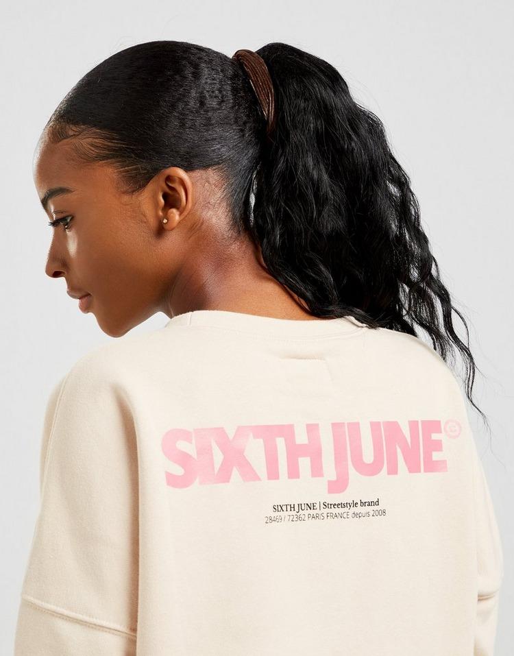 Sixth June Back Logo Crop Crew Sweatshirt